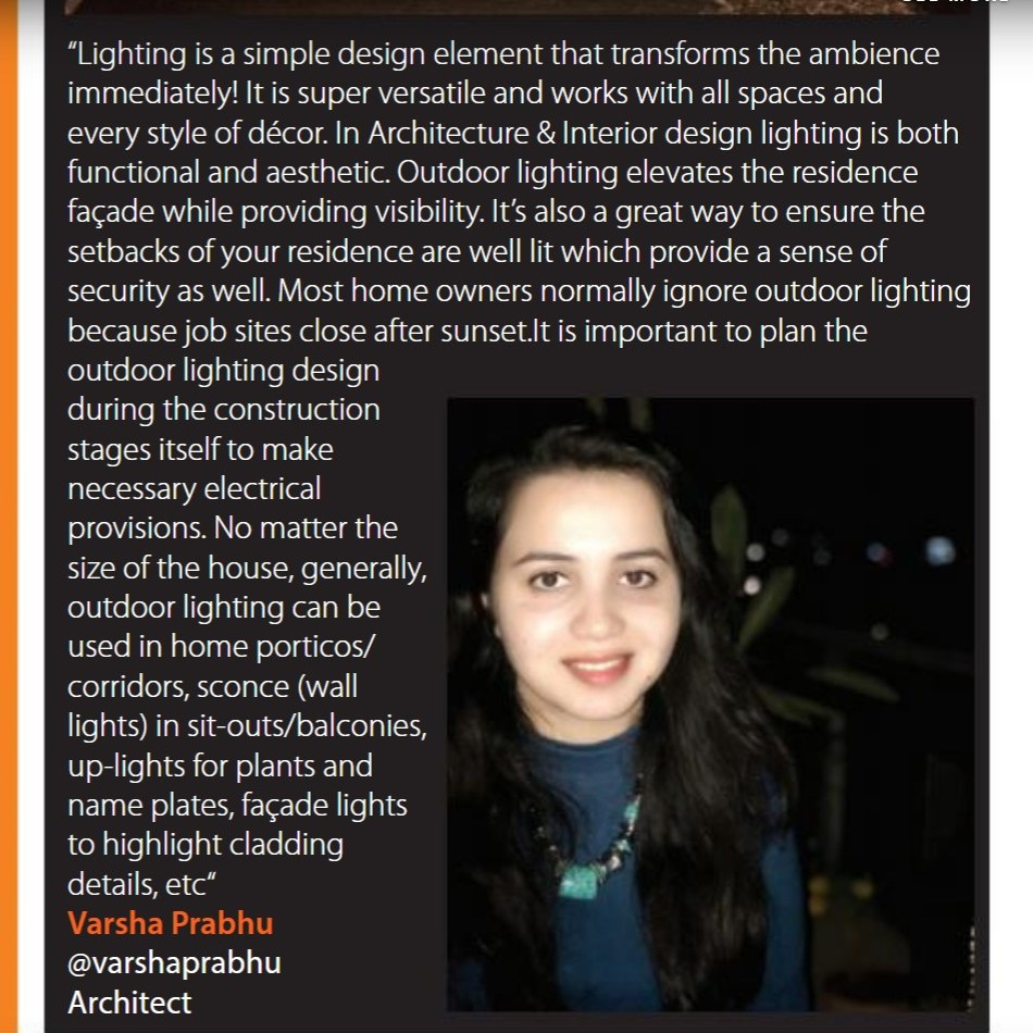 Architect Varsha Prabhu featured in the April 2020 issue of Tulip Magazine with some of the best Architects and Interior Designers in Hyderabad